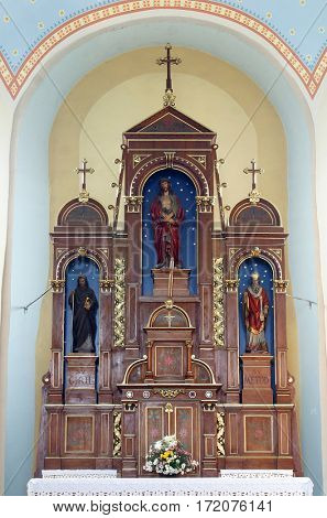 SCITARJEVO, CROATIA - AUGUST 23: Bounded Jesus altar in the Parish Church of Saint Martin in Scitarjevo, Croatia on August 23, 2011.