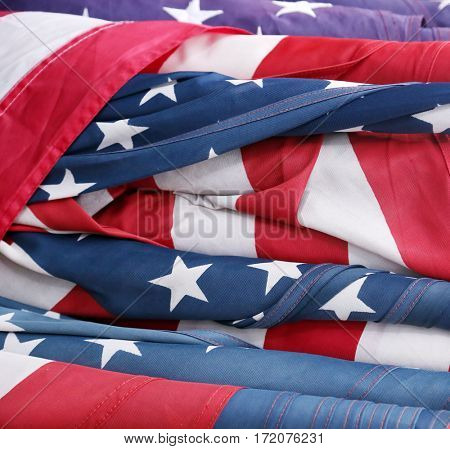 American Flags rolled up and ready to be put on display