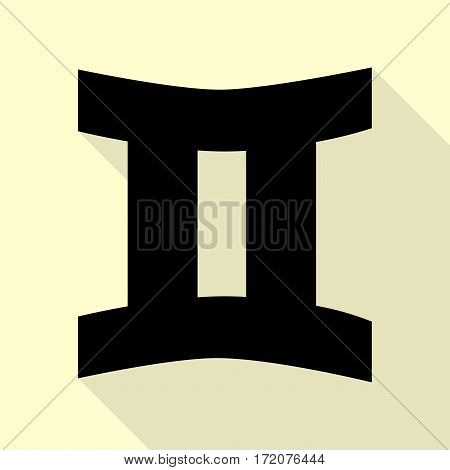 Gemini sign. Black icon with flat style shadow path on cream background.