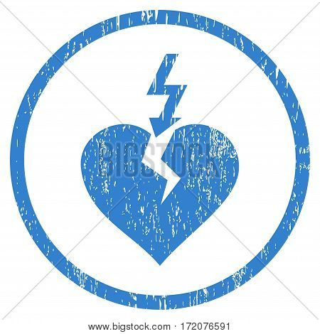 Break Heart grainy textured icon for overlay watermark stamps. Rounded flat vector symbol with dust texture. Circled cobalt ink rubber seal stamp with grunge design on a white background.