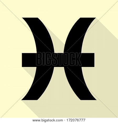 Pisces sign illustration. Black icon with flat style shadow path on cream background.