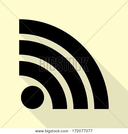 RSS sign illustration. Black icon with flat style shadow path on cream background.