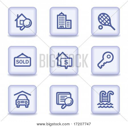Real estate web icons, light violet glossy buttons