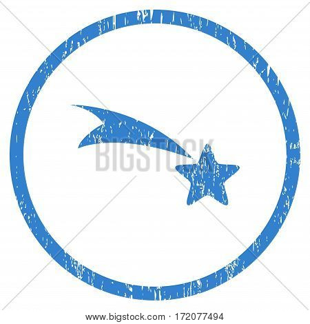 Falling Star grainy textured icon for overlay watermark stamps. Rounded flat vector symbol with scratched texture. Circled cobalt ink rubber seal stamp with grunge design on a white background.