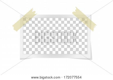 Square Frame Template On Sticky Tape With Shadows Isolated On White. Vector Illustration