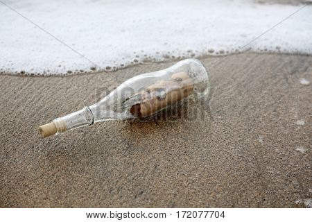 treasure map.  pirate treasure map in a bottle washed on shore.  pirate treasure map. message in a bottle.