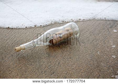 treasure map.  pirate treasure map in a bottle washed on shore.  pirate treasure map. message in a bottle.