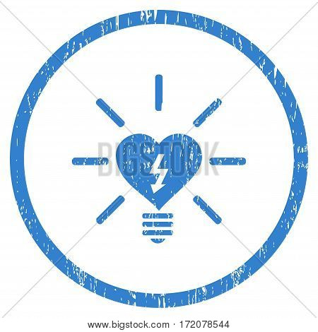 Heart Electric Bulb grainy textured icon for overlay watermark stamps. Rounded flat vector symbol with dirty texture. Circled cobalt ink rubber seal stamp with grunge design on a white background.