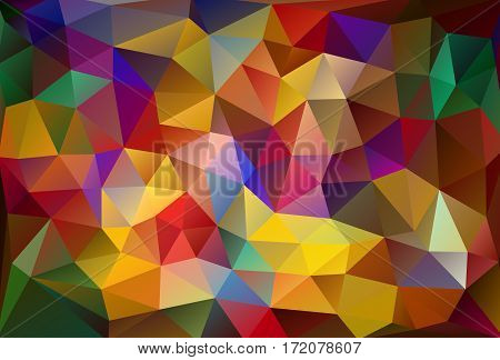 Abstract Low Poly Vector Background. Pattern Of Triangles. Polygonal Design. Fullcolor All Colors Of