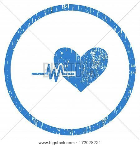 Heart Pulse grainy textured icon for overlay watermark stamps. Rounded flat vector symbol with dust texture. Circled cobalt ink rubber seal stamp with grunge design on a white background.