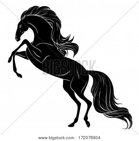 Isolated black drawing of a Rearing horse with long mane and tail