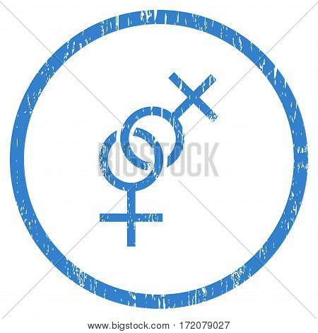 Lesbian Love Symbol grainy textured icon for overlay watermark stamps. Rounded flat vector symbol with unclean texture. Circled cobalt ink rubber seal stamp with grunge design on a white background.