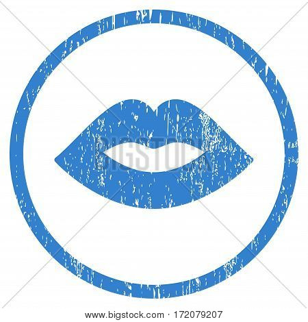 Lips grainy textured icon for overlay watermark stamps. Rounded flat vector symbol with dirty texture. Circled cobalt ink rubber seal stamp with grunge design on a white background.