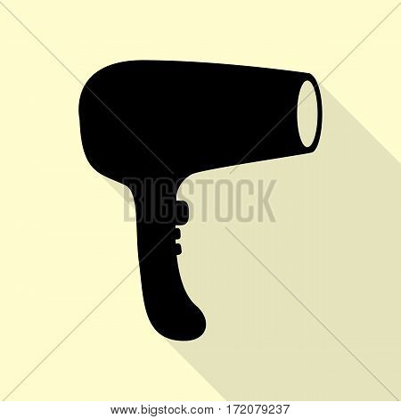 Hair Dryer sign. Black icon with flat style shadow path on cream background.