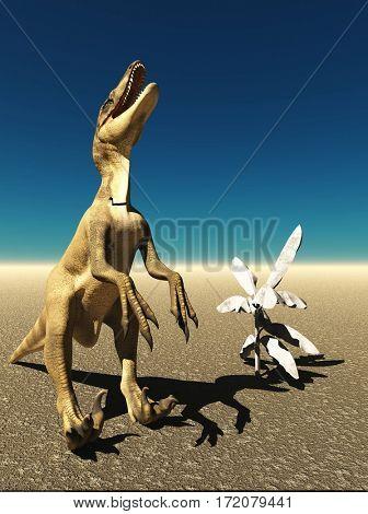 Velociraptor the dinosaur 3d rendering