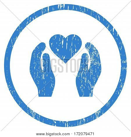 Love Care Hands grainy textured icon for overlay watermark stamps. Rounded flat vector symbol with unclean texture. Circled cobalt ink rubber seal stamp with grunge design on a white background.