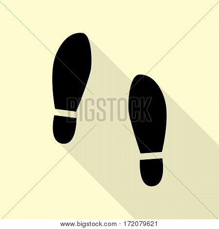 Imprint soles shoes sign. Black icon with flat style shadow path on cream background.
