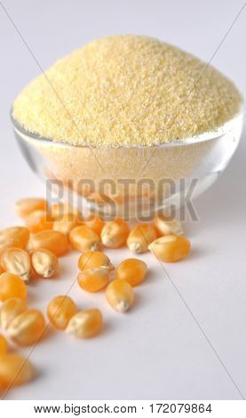Corn flour and grains on white background. Isolated on white. Yellow powder in a glass bowl. Alternative gluten-free flour for baking and cooking.