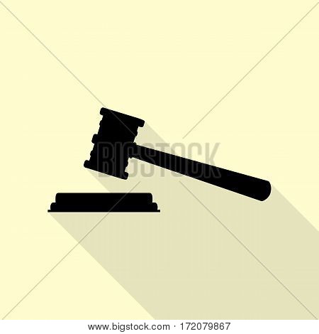 Justice hammer sign. Flat style black icon on white.