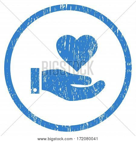 Love Heart Offer Hand grainy textured icon for overlay watermark stamps. Rounded flat vector symbol with dirty texture. Circled cobalt ink rubber seal stamp with grunge design on a white background.