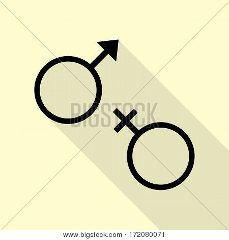 Sex symbol sign. Black icon with flat style shadow path on cream background.