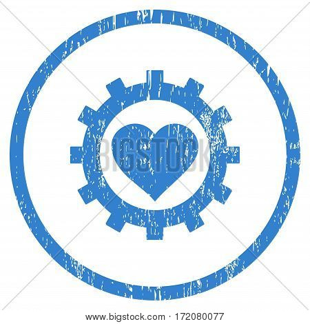 Love Heart Options Gear grainy textured icon for overlay watermark stamps. Rounded flat vector symbol with dirty texture. Circled cobalt ink rubber seal stamp with grunge design on a white background.