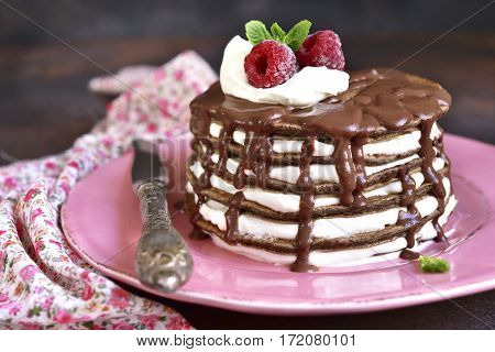 Chocolate Pancakes With Mascarpone And Chocolate Sauce.