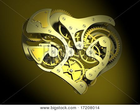 3D concept of heart shaped clock mechanism over dark background, isolated