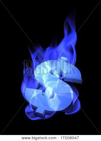 3D concept of dollar sign burning in blue flames, isolated, on black background