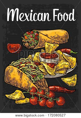 Poster Mexican traditional food with lettering. Burrito tacos chili tomato nachos. Vector color vintage engraved illustration for menu poster web. Isolated on dark background.