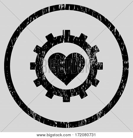 Love Heart Options Gear grainy textured icon for overlay watermark stamps. Rounded flat vector symbol with dust texture.