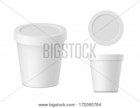 Vector realistic white cream container with cap isolated. Yogurt package on white background. Mock up front view, top view and isometric