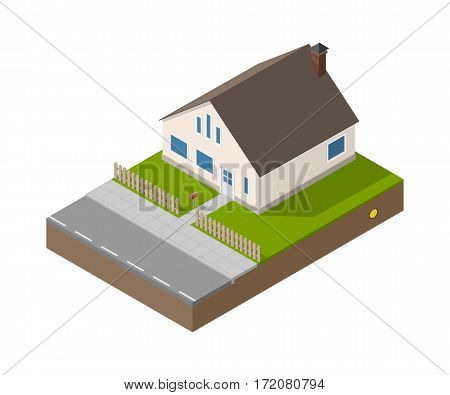 Isometric suburban beige house with door, windows and chimney. Building, fence, mailbox, road, garden and treasure. Vector simple estate isolated.
