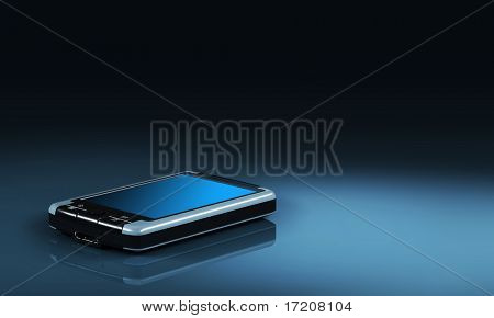 Pocket PC on dark background with copy space, 3d rendering