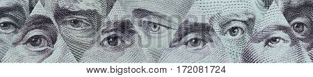 Portraits. Eyes well-known leader in the notes, the currency most dominant country in the world US dollar.