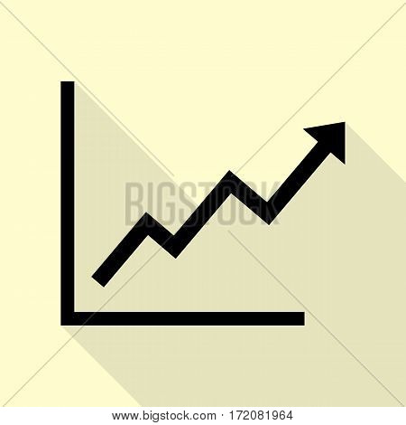 Growing bars graphic sign. Black icon with flat style shadow path on cream background.