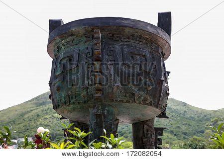 Ancient ceremonial bowl at Tian Tan Buddha, Lantau Island