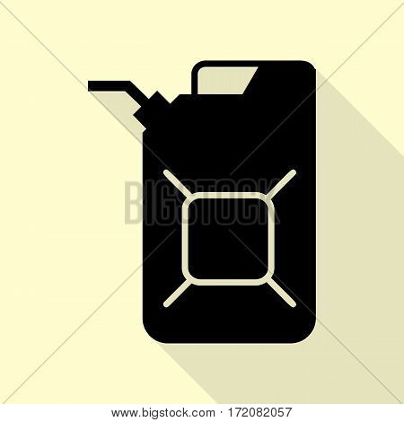 Jerrycan oil sign. Jerry can oil sign. Black icon with flat style shadow path on cream background.