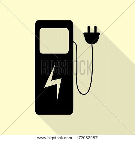 Electric car charging station sign. Black icon with flat style shadow path on cream background.