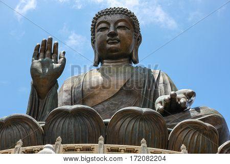 Bronze Tian Tan Buddha statue at Lantau Island