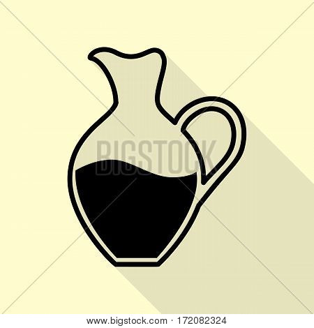 Amphora sign. Black icon with flat style shadow path on cream background.
