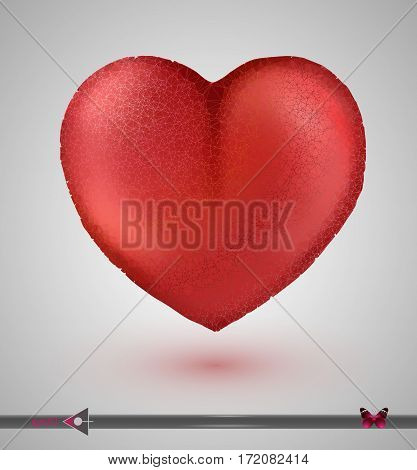 Vector Low-poly Isolated Red Heart. On A White Background. Valentine's Day. Design Element