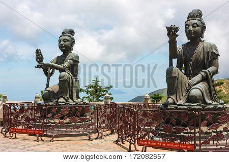 Twin Buddhist figures at Tian Tan, Lantau Island