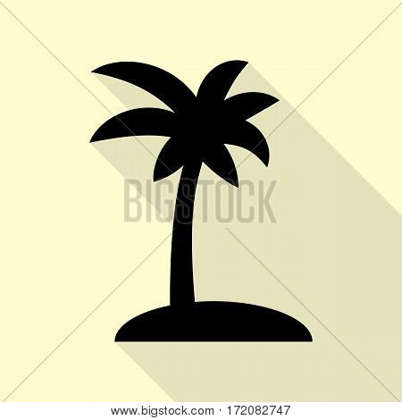 Coconut palm tree sign. Black icon with flat style shadow path on cream background.