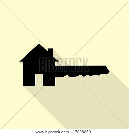 Home Key sign. Black icon with flat style shadow path on cream background.
