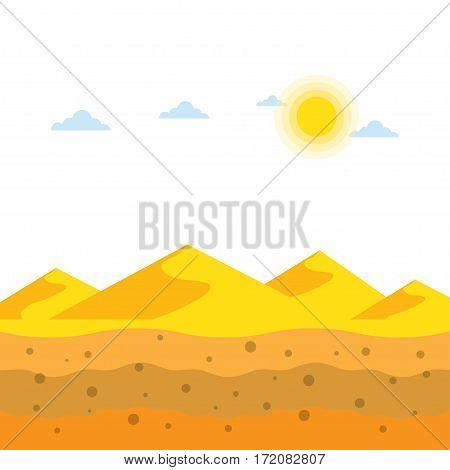 Landscape yellow sand dunes at desert soil profiles vector illustration