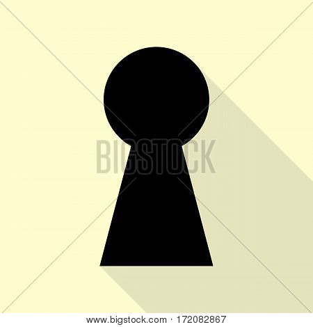 Keyhole sign illustration. Black icon with flat style shadow path on cream background.