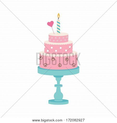 birthday cake with candle and heart happy birthday partysweets dessert cake on stand
