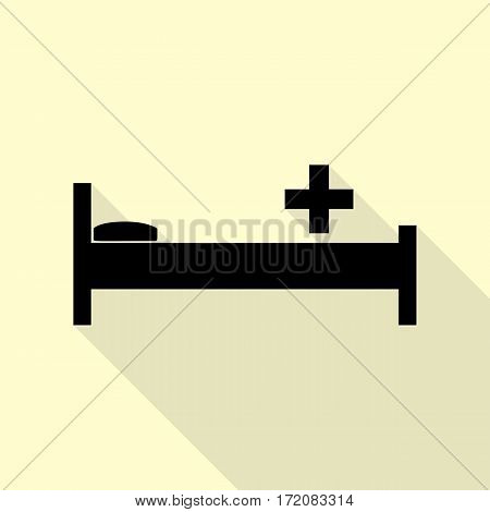 Hospital sign illustration. Black icon with flat style shadow path on cream background.