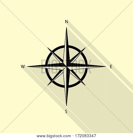 Wind rose sign. Black icon with flat style shadow path on cream background.
